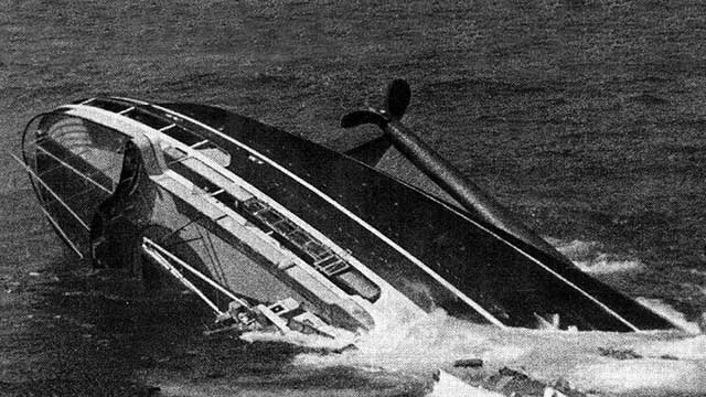 Andrea Doria stern above surface prior to sinking