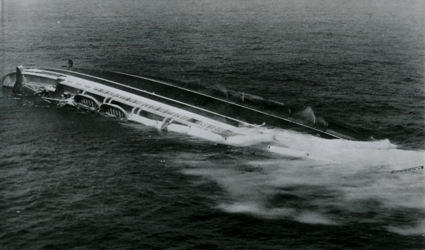 Andrea Doria listing heavily to starboard