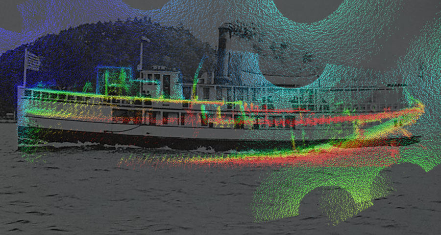 Combination image of historical photograph of the SS Dix overlaid on sideview of three dimensional model of shipwreck discovered in Elliott Bay.