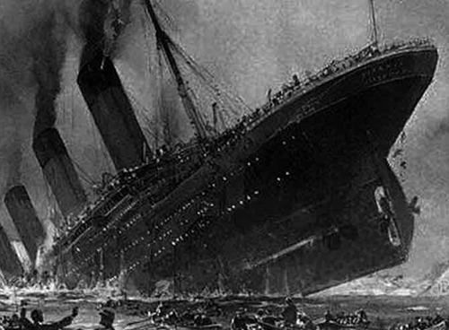 Sketched image of the Titanic sinking