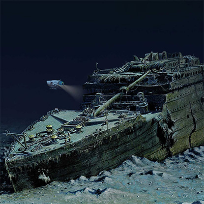 Illustrated image of the Titanic at the bottom of the ocean by Andrea Gatti, inspired by Ken Marschall