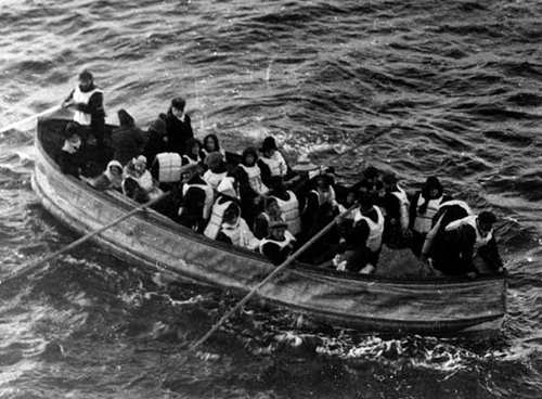 Survivors on a lifeboat